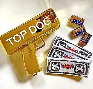Rapid$Gun TOP-Dog Money Gun Chrome Gold Toy + 3 X 100 Prop Money + 3 X 9V Batteries   Real Money Dispenser   Dollar Shooter   Paper Money Spray (Chrome Gold+300+3)