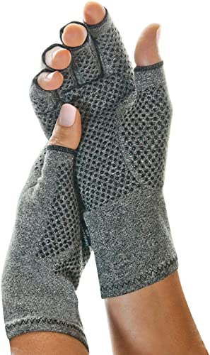 IMAK Compression Active Gloves, Relieves Arthritic Aches, Pain, & Joint Swelling, Anti-Slip Design, Open Fingertip Gl...