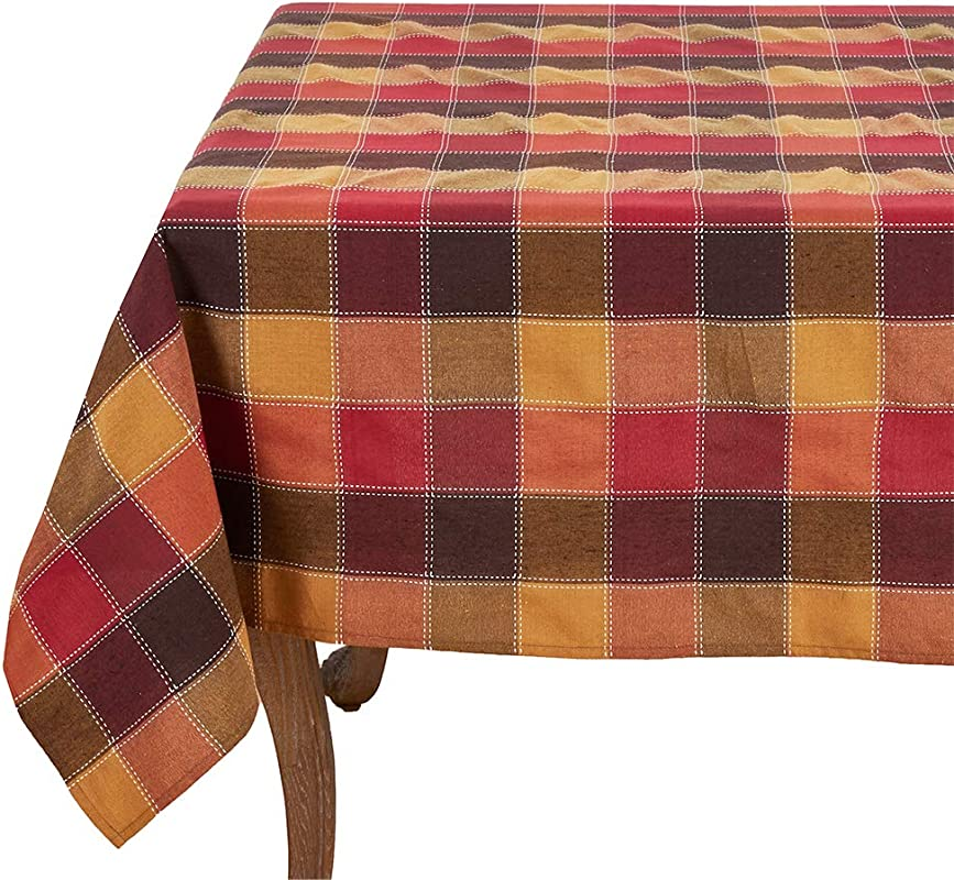 Fennco Styles Stitched Plaid Table 70 X 70 Square Tablecloth Multicolor