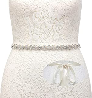 SWEETV Jeweled Bridal Belt Applique Rhinestone Wedding Belt Sash for Party Prom Evening Dresses Gown