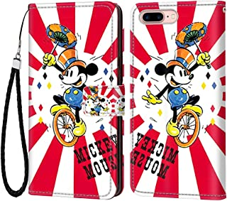 DISNEY COLLECTION iPhone 7 Plus iPhone 8 Plus Wallet Flip Leather Case, Mickey Mouse Elegant Luxury Fashion PU Leather Shockproof Wallet Case with Lanyard ID&Credit Card Pocket 5.5 inches