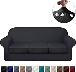 Granbest 4 Piece High Stretch Couch Covers for 3 Cushion Couch Thick Premium Sofa Slipcover Fitted Sofa Cover Furniture Protector for 3 Seat Sofas Dog Pet Proof Machine Washable