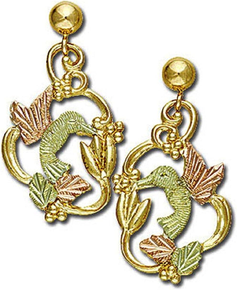 Landstroms 10k Black Hills Gold Hummingbird Earrings, for Pierced Ears - G L01593