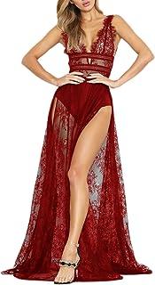 YACUN Vestido de Fiesta Sexy Mujer Largo de Encaje Elegante Laterales Aberturas Bodycon Sin Mangas de Noche Fiesta Banquet...