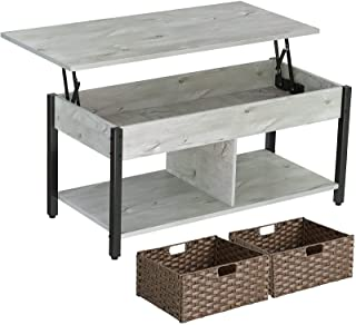 Rolanstar Lift Top Coffee Table with Storage and Rattan Baskets, Rustic Wood Raisable Top Central Table for Living Room, H...