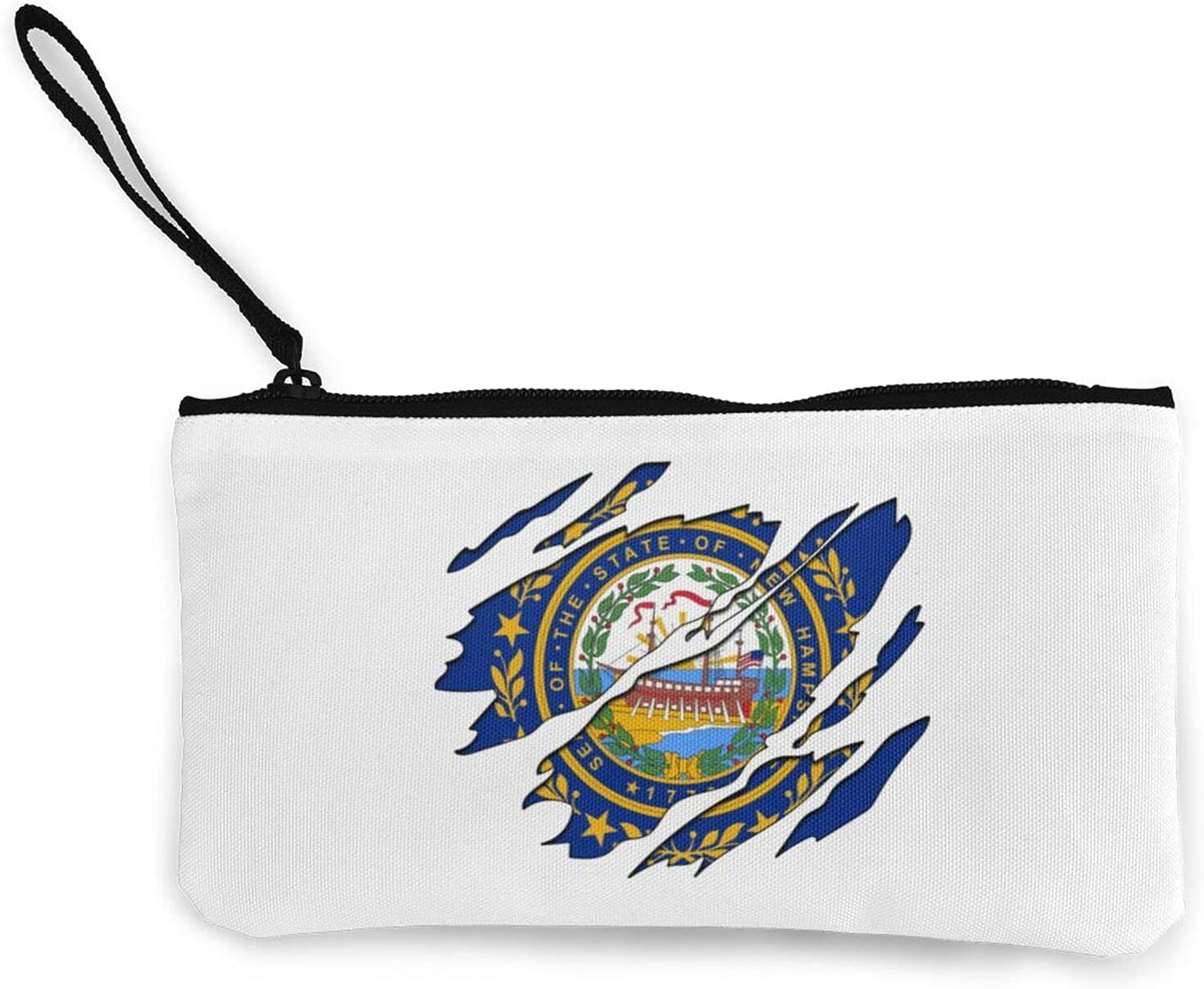 New Hampshire Flag Multifunction Travel Toiletry Pouch Small Canvas Coin Wallet Bag Zipper