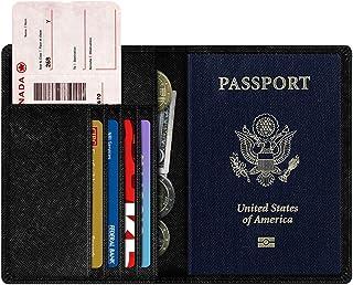 NEXTKIN Passport Protector Wallet, Premium Leather RFID Blocking Travel Passport Holder Wallet Organizer Cover Case - Black