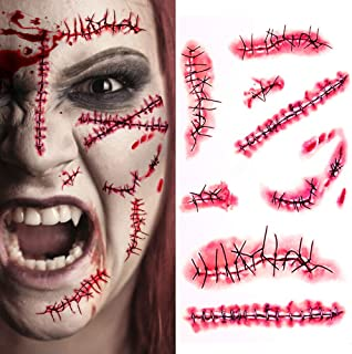 CPSYUB Cosplay Fake Scar, Cosplay Accessories Halloween Party Decoration Realistic Fake Wound Stitch Scars Scab, Waterproo...