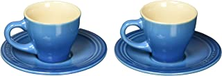 Le Creuset PG8001-0959 Stoneware Set of 2 Espresso Cups and Saucers, Marseille