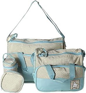 طقم حقيبة للام لحفاضات الاطفال من 5 قطع حامل لحقيبة اليد - لون اخضر