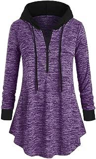 Women's Hoodies 1/4 Zip-Up Pullover Hooded Sweatshirt Tops Long Sleeve Solid Color Pullover Sweatshirts