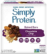 SimplyProtein Baked Bars. Clean and Light Crispy Bars with Plant Based Protein. (Chocolate Chip, 8 Pack)