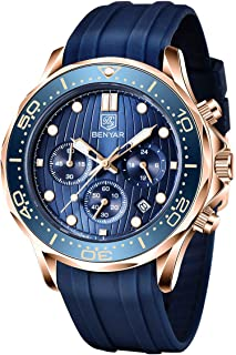 BENYAR Montre Elegante pour Hommes Chronographe de Mouvement à Quartz Sport Bracelet en Silicone 30M Imperméable La Mode C...