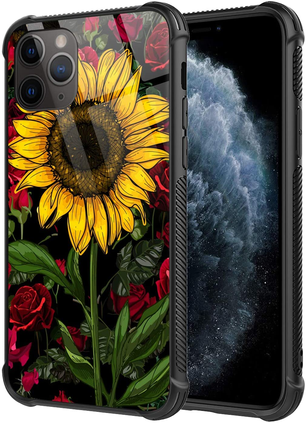 iPhone 11 Pro Max Case,Sunflower Rose Pattern Design 9H Tempered Glass Cover for Girls Women [Anti-Scratch] Soft TPU Bumper Frame Support Cover Case for iPhone 11 Pro Max(6.5 inch)