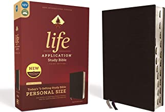 NIV, Life Application Study Bible, Third Edition, Personal Size, Bonded Leather, Black, Red Letter Edition, Thumb Indexed