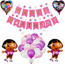 27PACK Dora the Explorer Balloons Birthday Party Supplies for Kids Baby Shower Party Decorations