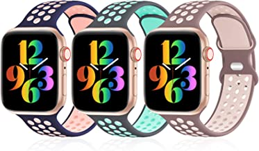 iWabcertoo 3 Pack Sport Bands Compatible with Apple Watch Bands 38mm 40mm 42mm 44mm, Breathable Soft Silicone Sport Wristb...