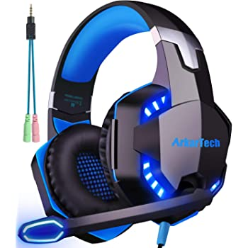 ARKARTECH G2000 ゲーミング ヘッドセット ヘッドホン ヘッドフォン ゲームヘッドセット マイク付き ゲーム用 PC パソコン スカイプ fps 対応 男女兼用 プレゼント ブルー