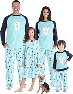 SleepytimePJs Winter Family Matching Ice Blue Snow Yeti Fleece Pajama PJ Sets