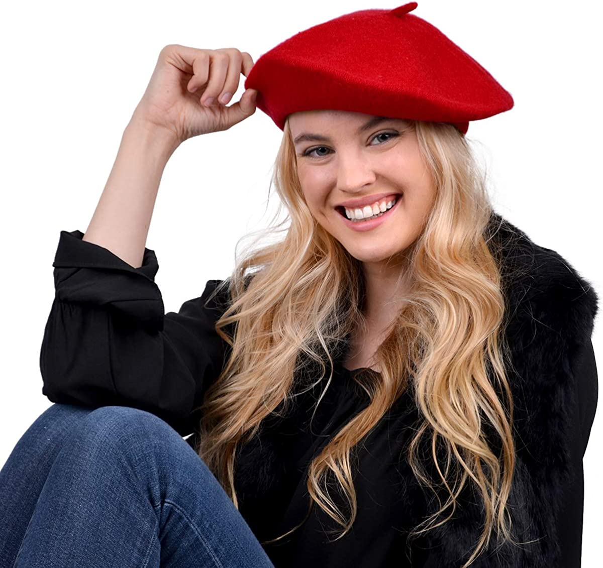 Nollia Ladies Solid Colored French Wool Beret Women's Classic Beret Hat for Casual Use - 1 Piece (Red)