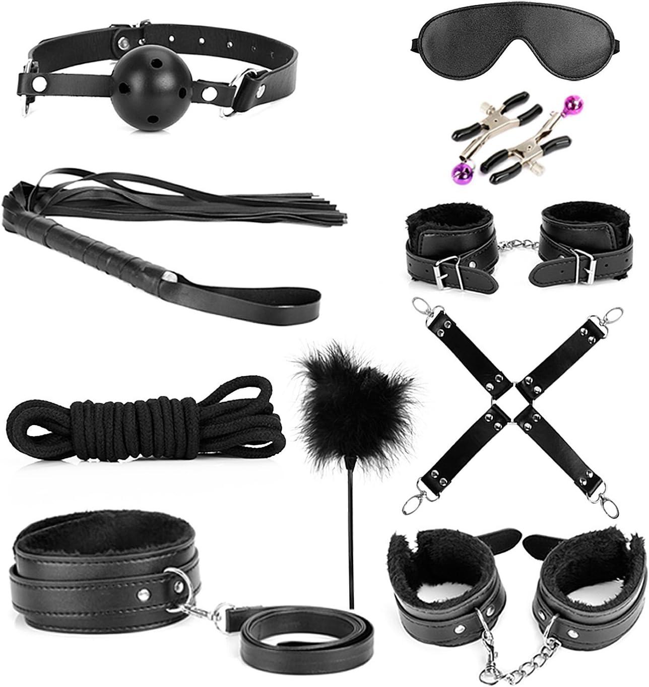 Bondage photo sets Amazon Com Bondage Kit 10 Piece Set Love Cuffs Black Health Household