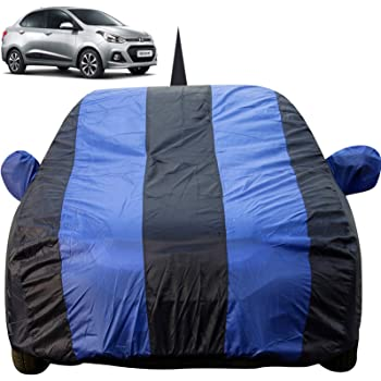 Autofact Car Body Cover for Hyundai Xcent with Mirror and Antenna Pocket (Light Weight, Triple Stitched, Heavy Buckle, Bottom Fully Elastic, Royal Blue Stripes with Navy Blue Color)