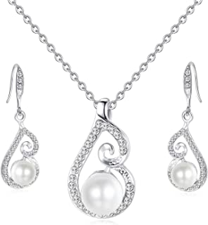 OUFO Artificial Pearl Jewelry Set for Women Necklace and Earrings Crystal Silver Plated Pendant Necklaces Sets for Wedding...