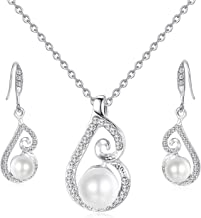 OUFO Artificial Pearl Jewelry Set for Women Necklace and Earrings Crystal Silver Plated Pendant Necklaces Sets for Wedding Gifts