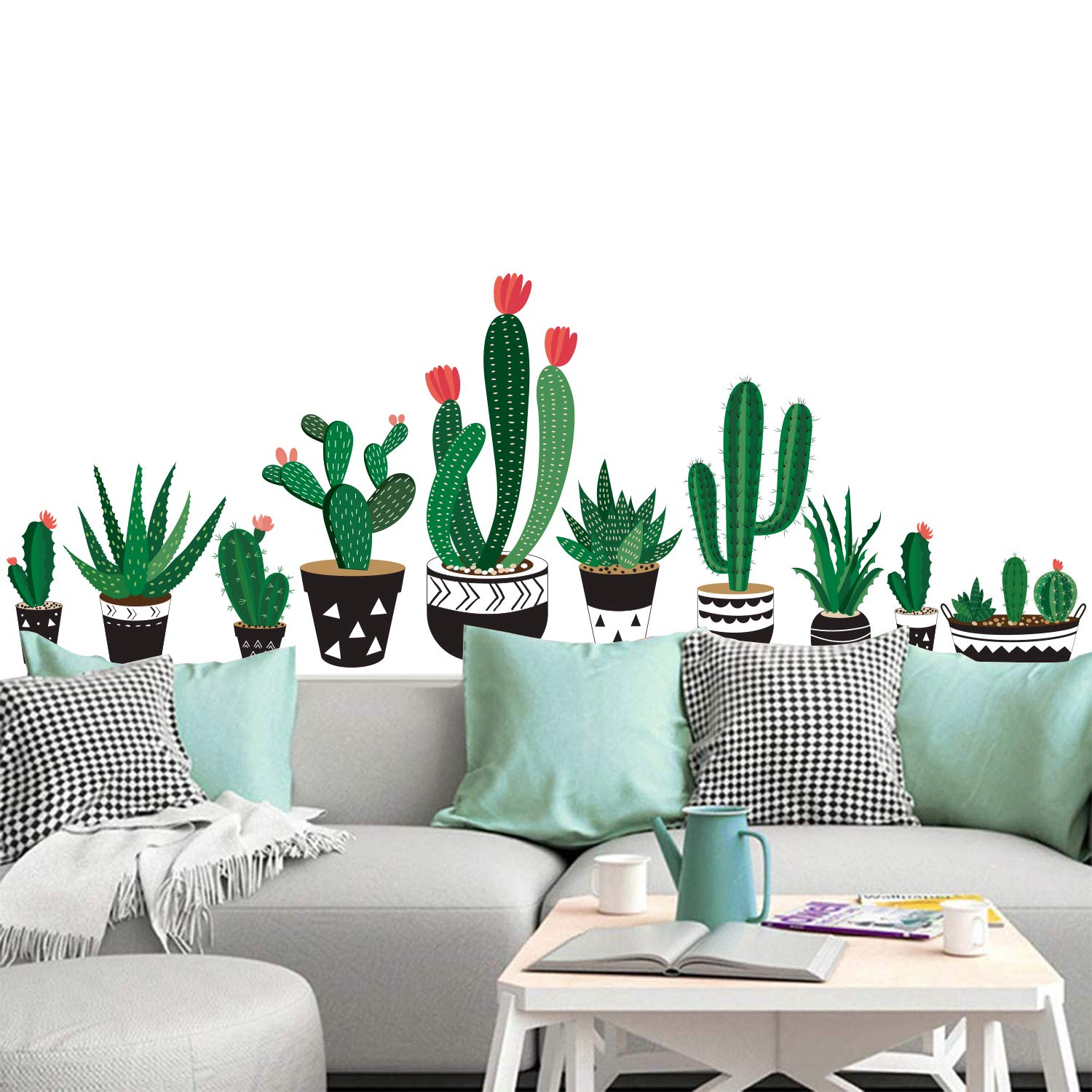 Cactus Wall Sticker DIY Cactus Bonsai Wall Sticker Removable Cartoon Potted  Green Plants Wall Decals for Cupboard Window Home Decor