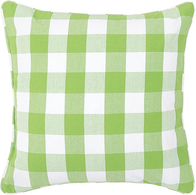 C F Home Franklin Buffalo Check Gingham Plaid Woven Sprout Green And White Double Sided Decorative Pillow 20 X 20 Sprout Green Home Kitchen