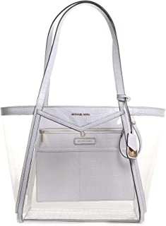 Michael Kors Whitney Large PVC and Leather Tote OPTIC WHITE