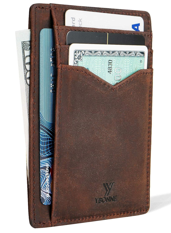 YBONNE メンズ フロントポケットミニマルウォレット、Rfidブロッキング薄型カードホルダー、レザー製 [並行輸入品]