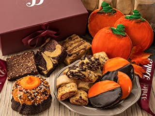 Dulcet Bakery Autumn Gift Box Filled with Halloween -Thanksgiving Treats Chocolate Bundt-Fudge Brownies-Sugar Cookies-Fruit filled Rugelah Great Gift Idea for men-women and families