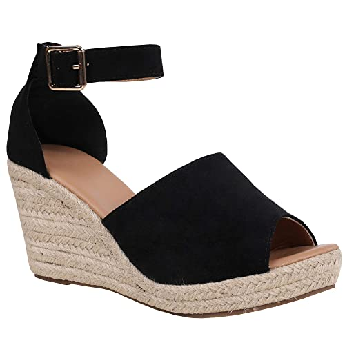 c24b9e96730 Black Espadrille Wedge: Amazon.com