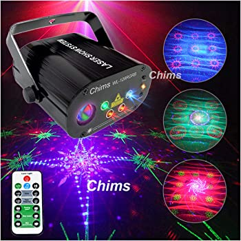 Chims DJ Party Lights Projector Red Green Blue 128 Patterns RGB Colorful LED Ripple Wave Lighting for Birthday Party DJ Stage Disco Music Festival Gift Club Christmas Xmas Party (RGB 128 Patterns)