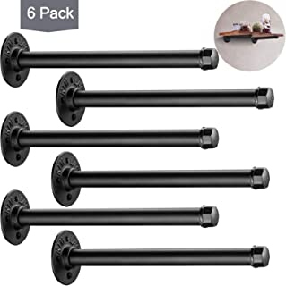 Industrial Black Iron Pipe Shelf Brackets 6 Pack, Elibbren 10.3 Inch Vintage Wall Mount DIY Shelving Brackets, Rustic Home Pipe Decor