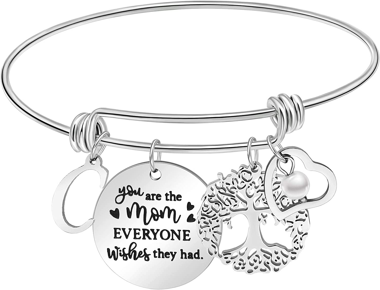 Mom Gifts from Daughter Mother's Day Adjustable Bangle Bracelets Birthday Jewelry from Son