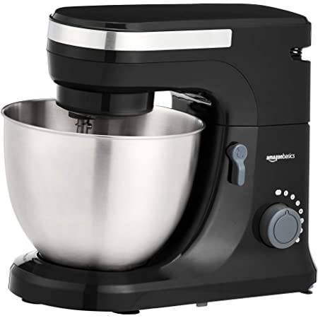 Amazon Basics Multi-Speed Stand Mixer with Attachments, Black