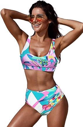 90a6f5a824 Juniors' Swimsuit Celebrity Pink U-Neckline High Waist Tropical Bikini