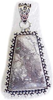 Dendritic Opal Pendant, Silver Plated Brass Pendant, Handmade Pendant, Gift Jewelry, Women Jewellry, Fashion Jewellry, BRS...