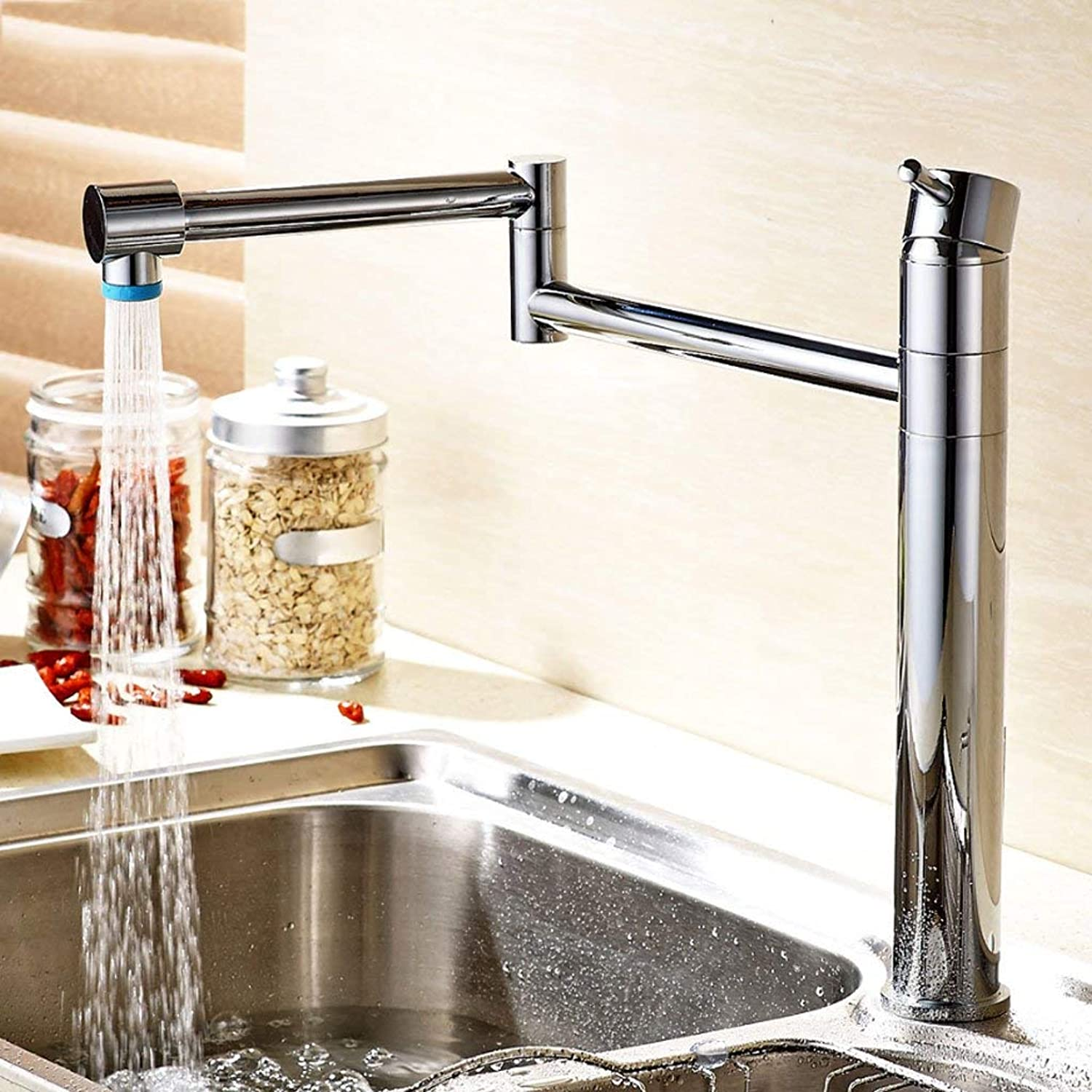 BMY Kitchen Sink Taps Modern Minimalist Pure Copper Collapsible Vegetables Basin Sink Faucet Hot And Cold Kitchen Faucet Scalable Stretch