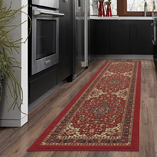 "New Ottohome Collection Persian Heriz Oriental Design Red Runner Rug (1'10"" x7"