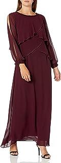 اس.ال فستان كوكتيل نسائي طويل الأكمام من الشيفون من فاشونز (صغير ومنتظم)