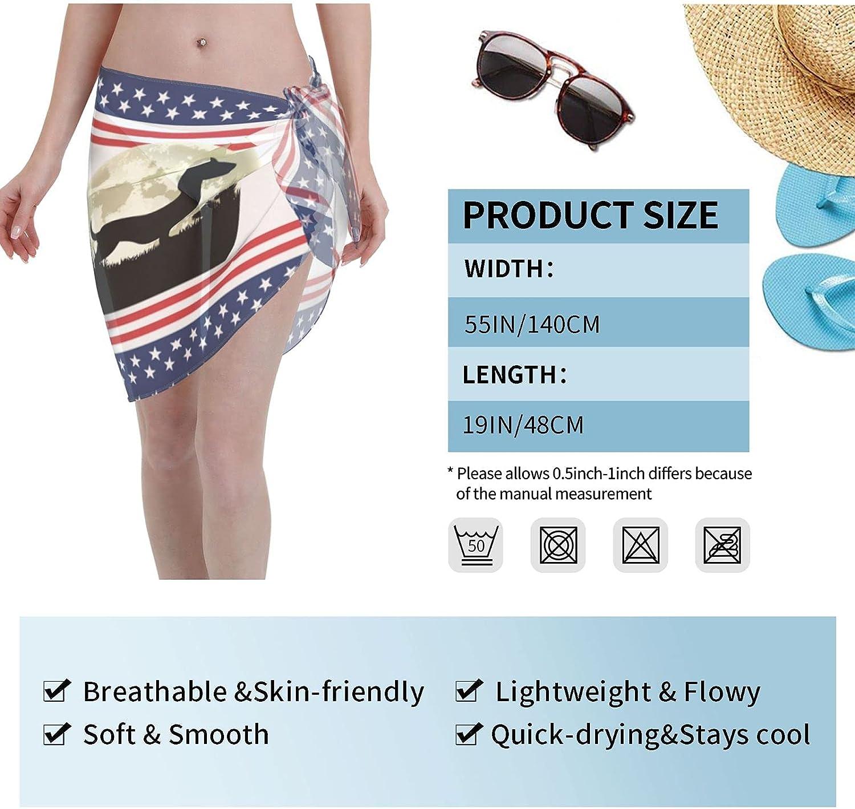 Cute Dog Dachshund Moon Women Short Sarongs Beach Wrap Bathing Suits Cover Ups Sheer Short Skirt Bikini Chiffon Scarf Black