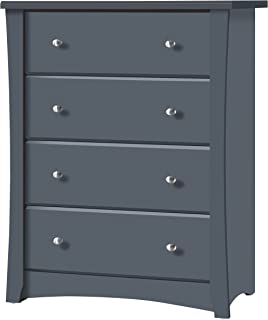 Storkcraft Crescent 4 Drawer Chest, Grey Kids Bedroom Dresser with 4 Drawers, Wood & Composite Construction, Ideal for Nursery, Toddlers Room, Kids Room