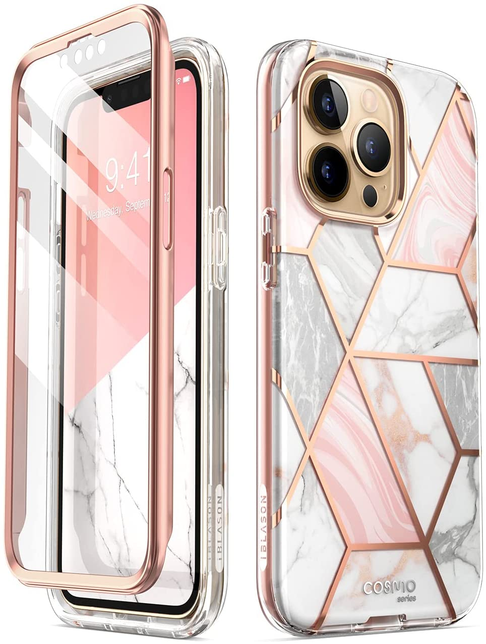 i-Blason Cosmo Series Case for iPhone 13 Pro Max 6.7 inch (2021 Release), Slim Full-Body Stylish Protective Case with Built-in Screen Protector (Marble)