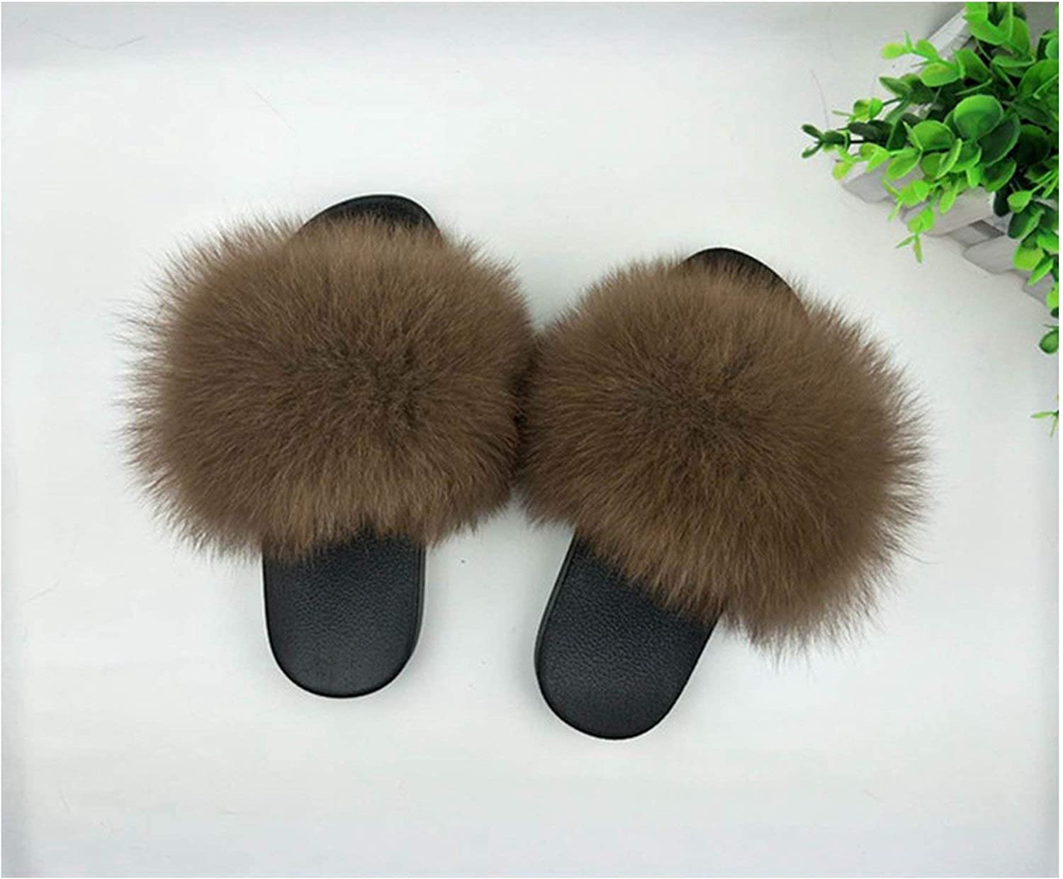 Leifun Fur Slippers Women Fox Home Fluffy Sliders with Feathers Furry Summer Flats Sweet shoes