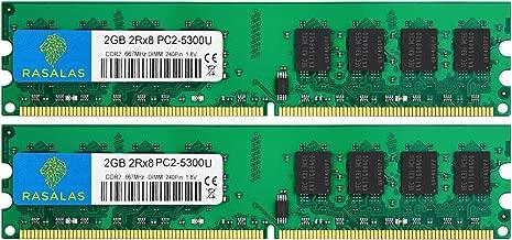 DDR2 PC2-5300,Rasalas DDR2 800mhz DDR2 4gb Kit(2x2GB) PC2-5300U Ram Desktop DDR2-800 Udimm 1.8V CL5 240-Pin Non-ECC Unbuffered Desktop Memory Modules