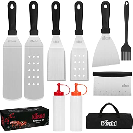 Birald Griddle Accessories Kit Gifts for Men Dad, 10Pcs Flat Top Grill Accessories Set for Camp Chef,Griddle Spatula for Outdoor Hibachi Grill Set Grill Tools,Stainless Steel BBQ Cooking KitforYard