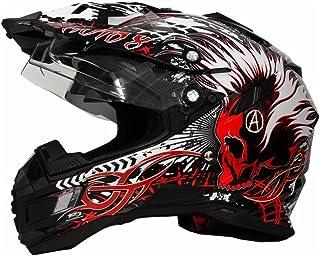<h2>Motorradhelm MX Enduro Quad Helm Schwarz Rot mit Visier und Sonnenblende Gr. L</h2>